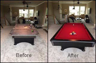 Professional pool table refelting in Asheville